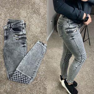 Zara Premium Collection Moto Acid Wash Jeans